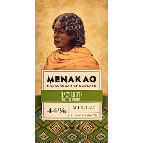 Menakao Mælkechokolade 44% med hasselnødder